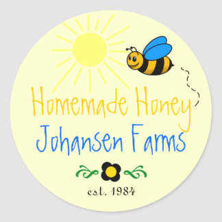 Honey Bee Homemade Farm Round Sticker