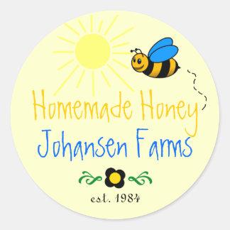 Honey Bee Homemade Farm Round Sticker