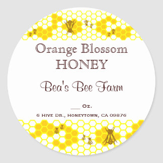 Honey Bee Honeycomb Art Custom Jar Sticker