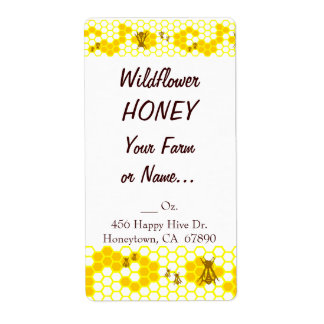 Honey Bee Honeycomb Custom Large Label