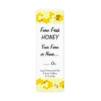 Honey Bee Honeycomb Custom Small Label Return Address Label