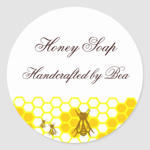 Honey Bee Honeycomb Custom Soap Label Stickers Round Sticker