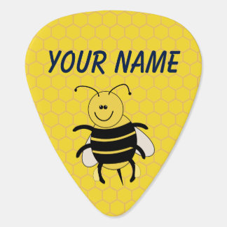 Honey Bee Honeycomb Guitar Pick Personalized Name