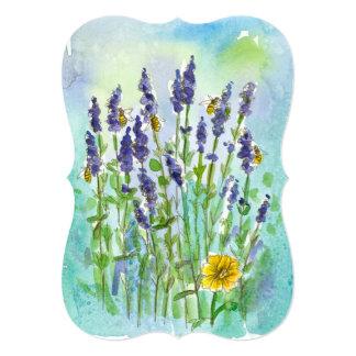 Honey Bee Lavender Watercolor Flower Bridal Shower 13 Cm X 18 Cm Invitation Card