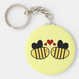 Honey Bee Love Basic Round Button Key Ring