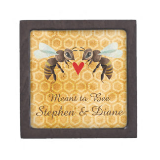 Honey Bee Magnetic Wooden Engagement Ring Box Premium Trinket Box