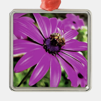 Honey Bee On a Spring Flower Metal Ornament
