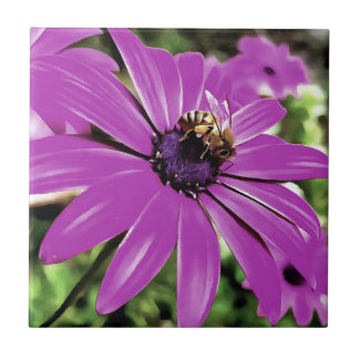 Honey Bee On a Spring Flower Small Square Tile
