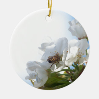 Honey Bee on Cherry Blossoms Ceramic Ornament