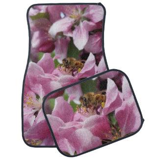 Honey Bee on Pink Crabapple blossom Spring Scene Car Mat