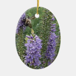 Honey Bee on Purple Flower 2 Christmas Tree Ornaments