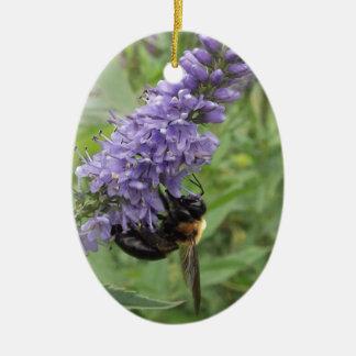 Honey Bee on Purple Flower Christmas Tree Ornaments