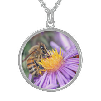 Honey Bee on Purple Pink Flower Sterling Silver Necklace