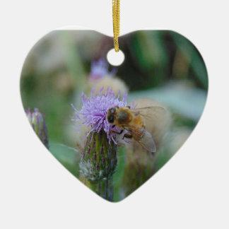 Honey Bee on Thistles Ceramic Heart Decoration