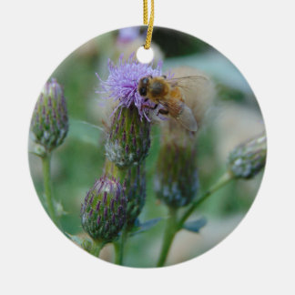 Honey Bee on Thistles Round Ceramic Decoration