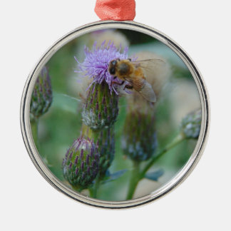 Honey Bee on Thistles Silver-Colored Round Decoration