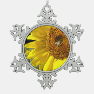 Honey Bee on Yellow Sunflower Pewter Snowflake Decoration