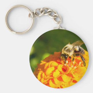 Honey Bee  Orange Yellow Flower With Pollen Sacs Key Ring