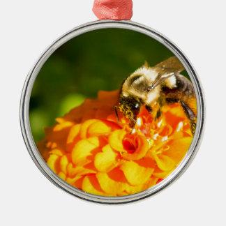 Honey Bee  Orange Yellow Flower With Pollen Sacs Metal Ornament