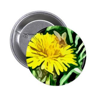 honey bee pollinating yellow flower painting 6 cm round badge