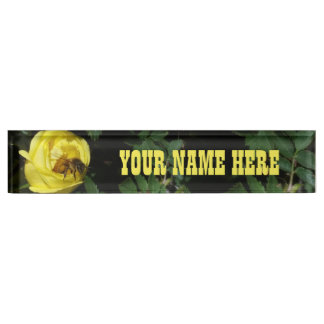 Honey Bee Pollinating Yellow Rose Desk Nameplates