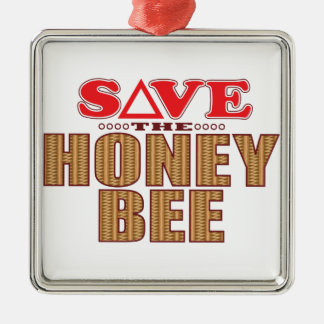 Honey Bee Save Silver-Colored Square Decoration