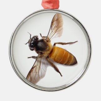 Honey Bee Silver-Colored Round Decoration
