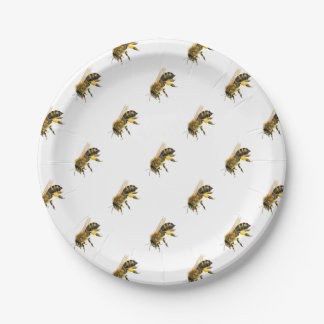 Honey Bee Watercolour Painting Artwork Print Paper Plate