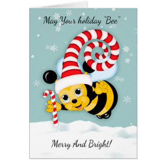 Honey Bee With Fun Holiday Hat And Candy Cane Greeting Card