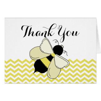 Honey Bee Yellow Zigzag Thank You Card