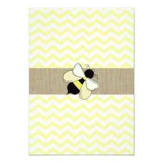 Honey Bee ZigZag Baby Shower 13 Cm X 18 Cm Invitation Card