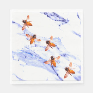 Honey Bees and blue marble Paper Serviettes