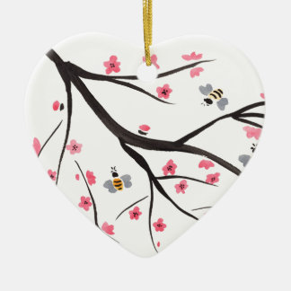 Honey Bees and Cherry Blossoms Ceramic Heart Decoration
