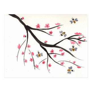 Honey Bees and Cherry Blossoms Postcard