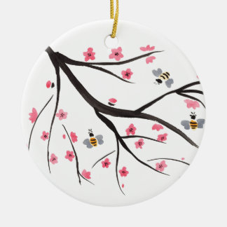 Honey Bees and Cherry Blossoms Round Ceramic Decoration