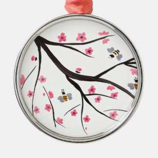 Honey Bees and Cherry Blossoms Silver-Colored Round Decoration