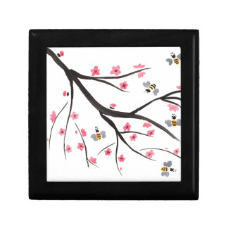 Honey Bees and Cherry Blossoms Small Square Gift Box