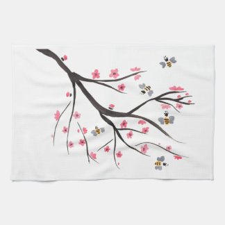 Honey Bees and Cherry Blossoms Towels