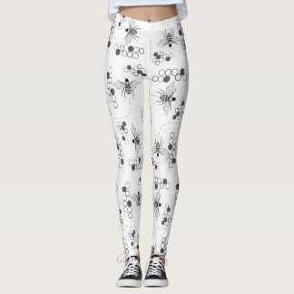 Honey Bees and Clover Black and White Leggings