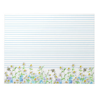 Honey Bees Chamomile Flowers Watercolor Lined Notepads