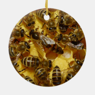 Honey Bees in Hive with Queen in Middle Round Ceramic Decoration