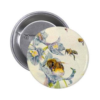 Honey Bees & Morning Glory Flowers EZ2 Customize 6 Cm Round Badge