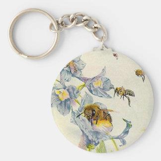 Honey Bees & Morning Glory Flowers EZ2 Customize Basic Round Button Key Ring
