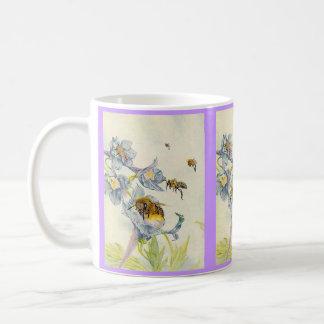 Honey Bees & Morning Glory Flowers EZ2 Customize Basic White Mug