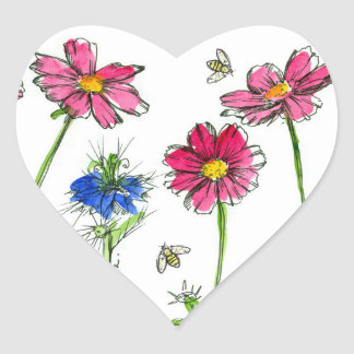 Honey Bees Nigella Pink Cosmos Watercolor Flowers Heart Sticker
