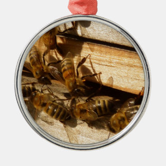 Honey Bees Silver-Colored Round Decoration