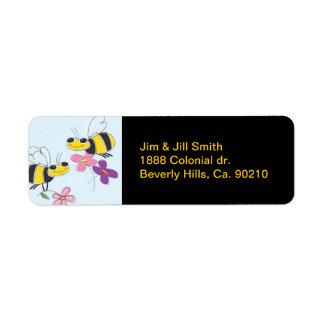Honey Bees & Spring Flowers Return Address Label