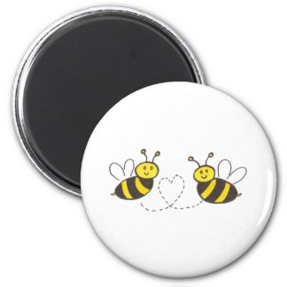 Honey Bees with Heart 6 Cm Round Magnet