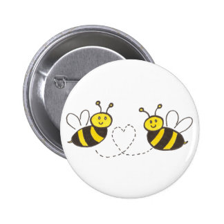 Honey Bees with Heart Button