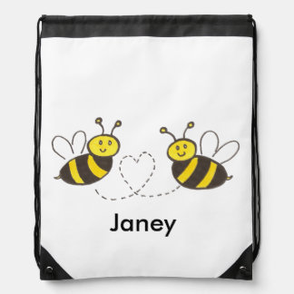 Honey Bees with Heart Drawstring Bag